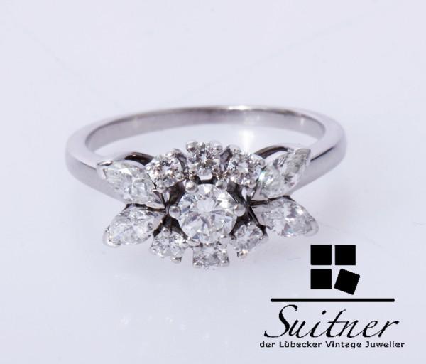 wertvoller 0,98ct. Ring Brillanten und Navette 750 Weißgold Gr. 54 Diamanten