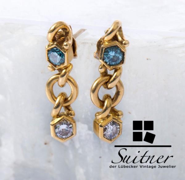 seltene Fancy Blau Brillanten 0,80ct. Ohrringe Ohrhänger 750 Gold Unikat