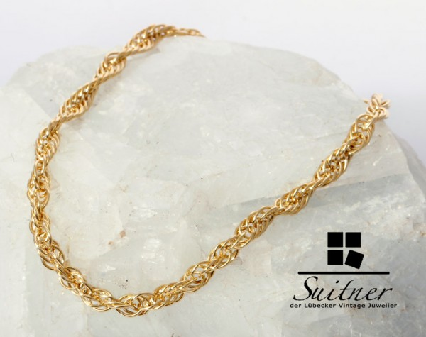 Kordel Armband 375 Gold Länge 19 cm grobes Design neuwertig Bracelet
