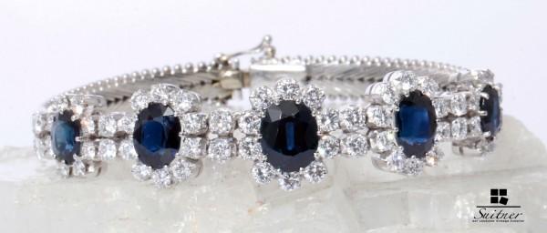Art Deco 11,95ct. Brillant und Saphir Armband 750 Weißgold Juwelen Expertise