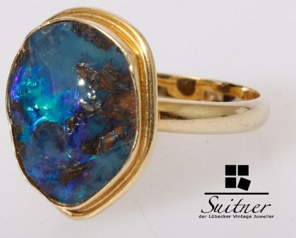 wertvoller blauer Opal Ring 585 Gold Gr. 58,5 Boulder Australien Unikat