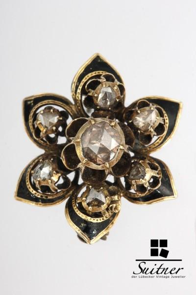 Antike Stern Brosche um 1800 museal Diamantrosen ca. 1,00ct. Gold 750