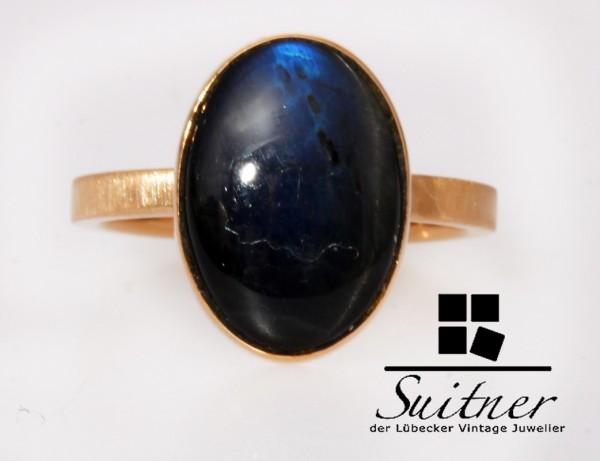 großer Labradorit 585 Roségold Ring Gr. 51,5 Gold Rotgold Blauer Stein