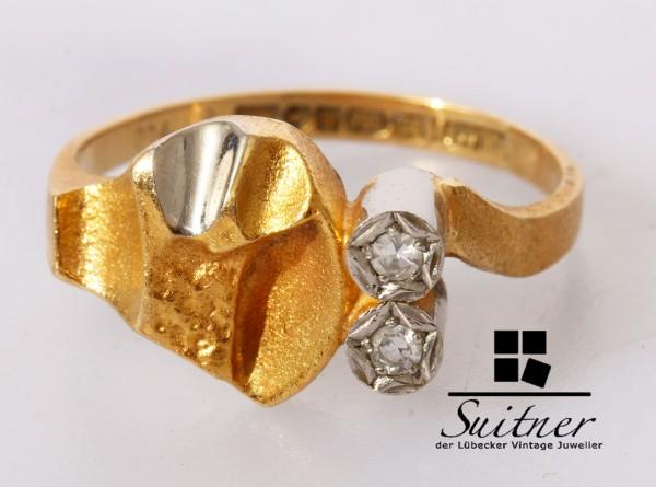 wertvoller Lapponia Ring mit Diamanten 750 Gold Gr. 52 Weckström