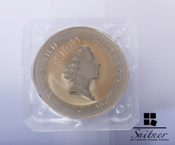 Australien 2 Dollar 1995 Kookaburra PP 2 Unzen Proof Silber selten