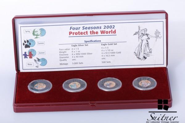 4x 5 Dollar 2002 Coloriert je 1/10 Unze