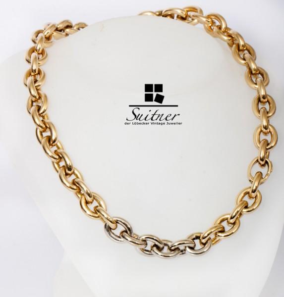 XL Design Collier 585 Weißgold Gelbgold Gold Glieder Ankerkette NP 13.950,-