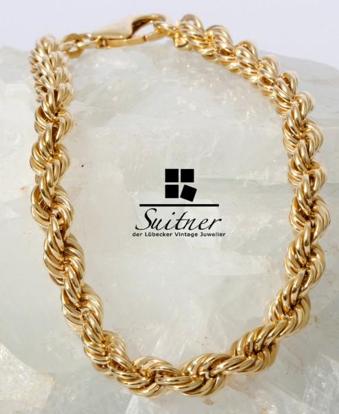 Kordelarmband 375 Gold 19 cm Neu Bracelet Singapur Kordel Kette