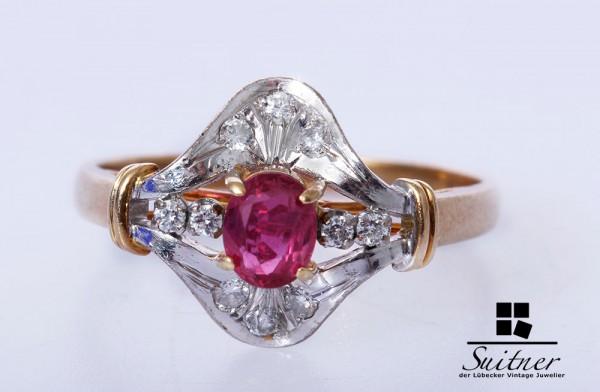 wertvoller Rubin Brillant Ring aus 585 Gold Gr. 57,5 Handarbeit