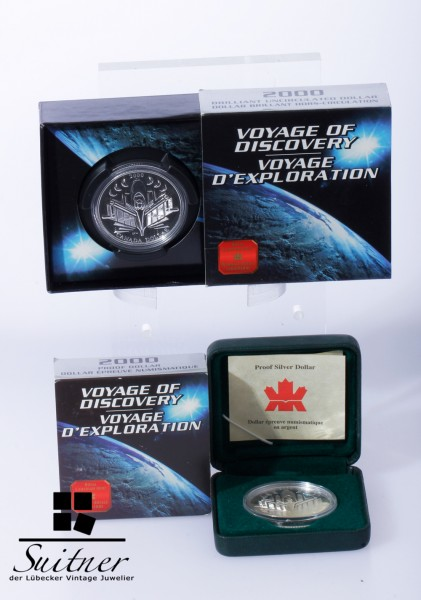 2 x 1 Dollar Kanada Discovery 2000 PP Originalverpackung Proof Silver Silber