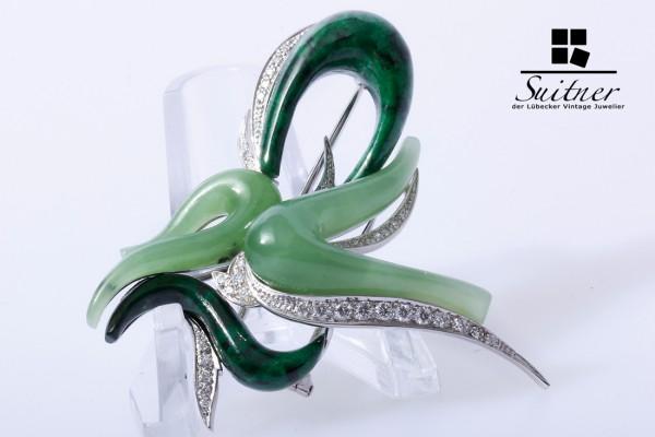 Julia Plana Brosche Brillanten Jade Malachit 750 Weißgold Kunst Art Design