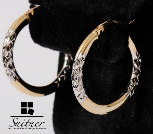 moderne Creolen 375 Gold im diamantierten Design Weißgold