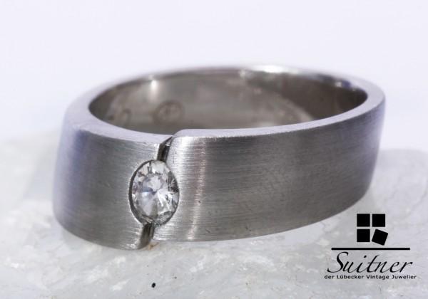 moderner Diamant Ring 0,20 ct TW / VSI 950 Platin Gr. 55 Oval Handarbeit