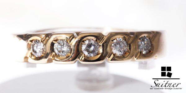 prachtvoller Ring aus 585 Gold Allianz 5 Brillanten - Memory Memoire