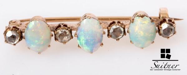 Antike Opal Diamant Brosche mit Rosen 585 Gold Stab