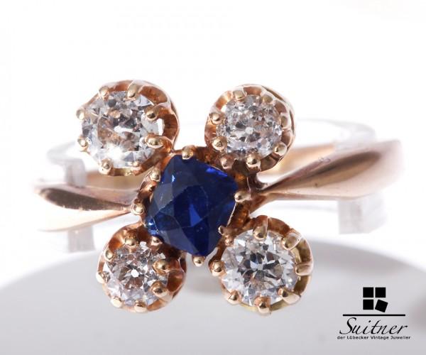 Art deco Ring mit Brillanten und Saphiren aus Gold