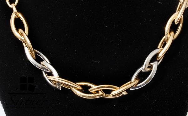 modernes Design Collier 585 Weißgold Gelbgold Kette 45 cm große Glieder