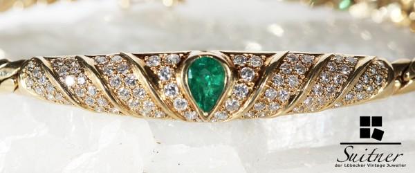wertvolles Smaragd Brillant Armband aus Gold 750 insgesamt 1,54 ct
