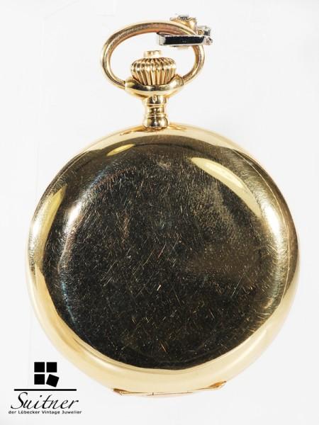seltene 1a IWC Taschenuhr Chronometer Qualität 750 Gold Cal. 53 Savonette