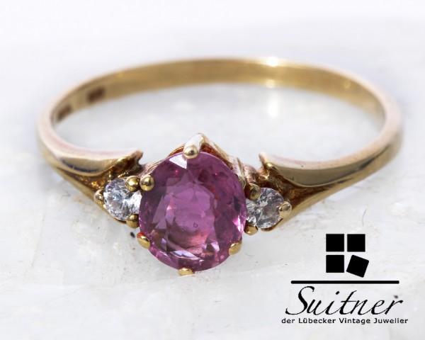 Pinker Saphir und Brillant Ring 585 Gold Gr. 53 Verlobungsring