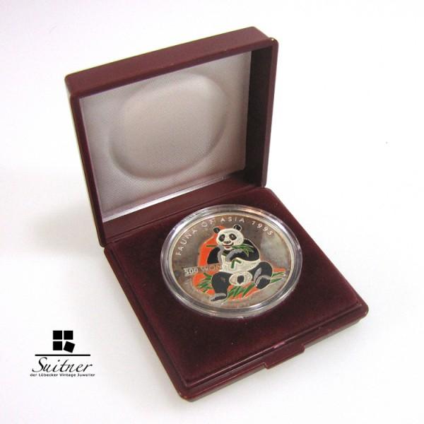 Korea 500 Won 1995 colorized Panda im Etui 1 Unze Silber