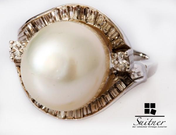 Art Deco Ring 15mm Südsee Perle und 1,08ct. Diamanten 585 Weißgold Gutachten
