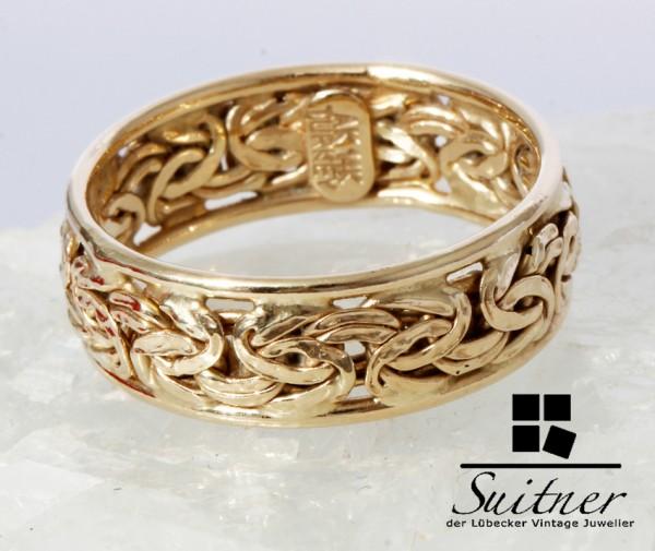 Design Ring aus 585 Gold Stil Königskette Gr. 55 Nugget Band