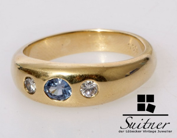 Goldschmiede Ring Saphir Brillant 585 Gold Gr. 59 Unikat Wasserblau vsi TW
