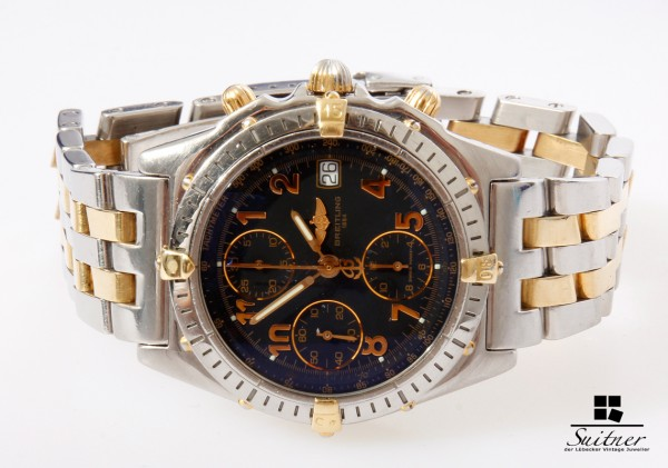 Breitling Chronomat Stahl Gold D13050 Chronograph mit Box