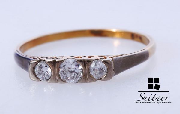 antiker Diamant Ring 585 Gold Gr. 55 Jugendstil - filigrane Handarbeit