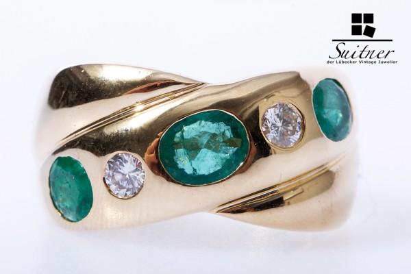 Smaragd Brillant Ring 750 Gelbgold Gr. 60