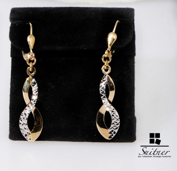 moderne Bicolor Ohrhänger 585 Gold Gelbgold und Weißgold 8 Design