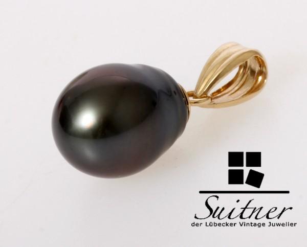 feiner Tahiti Perlen Anhänger 585 Gold - Grau Schwarz