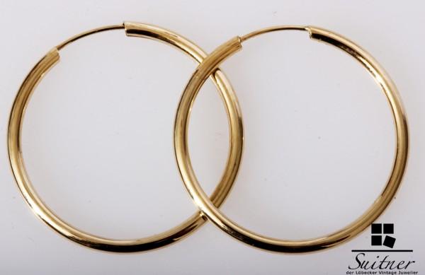 große XL Creolen aus Gold - Ohrringe 375 Gelbgold