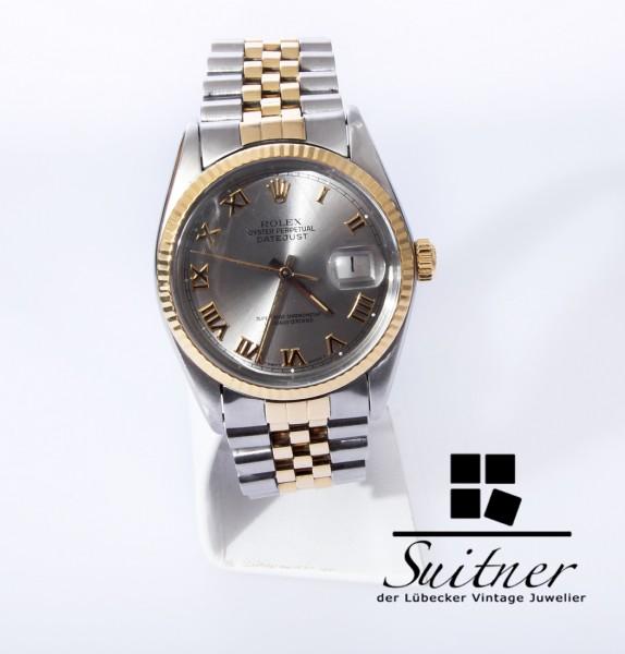 Rolex Datejust 16013 von 1978 Stahl Gold mit Box Roman Silver Dial