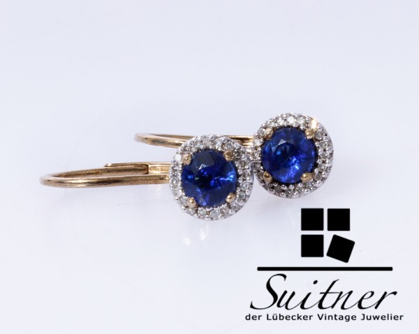 feine Ohrhänger aus Gold mit Saphir blauem Steinbesatz und Diamanten antik