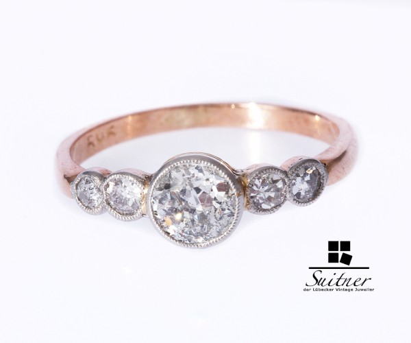 Ring Antik Roségold 585 mit 4 Diamanten zus. ca. 0,65 ct. Gr. 50 51