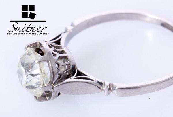 antiker Art Deco Diamant Ring ca 1,29ct 750 Weißgold Gr. 50 Solitär Gold