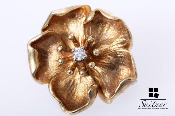 feine Blüte Brosche Brillant 0,02 ct 585 Gold Flower Blume