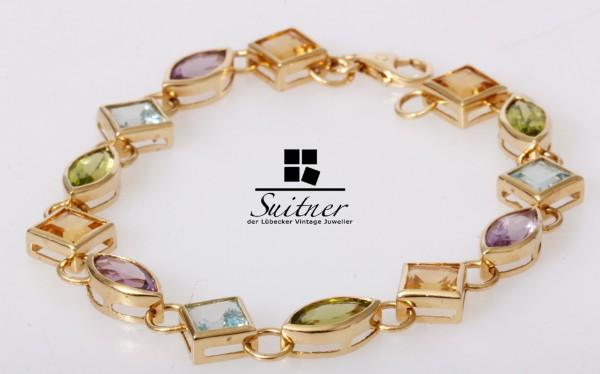 Multi Color Edelstein Armband Citrin, Amethyst Topas 585 Gold Regenbogen
