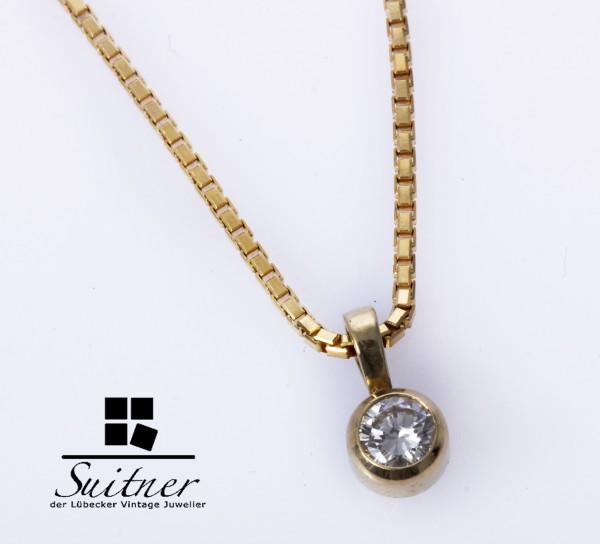 Collier mit 0,30ct Brillant Anhänger Kette aus 585 Gold Solitär Pendant