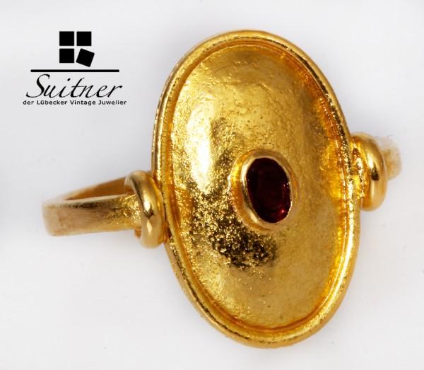wertvoller Rubin Ring aus 900 Gold Handgefertigt Gr. 51 Unikat Ruby Antikes Design