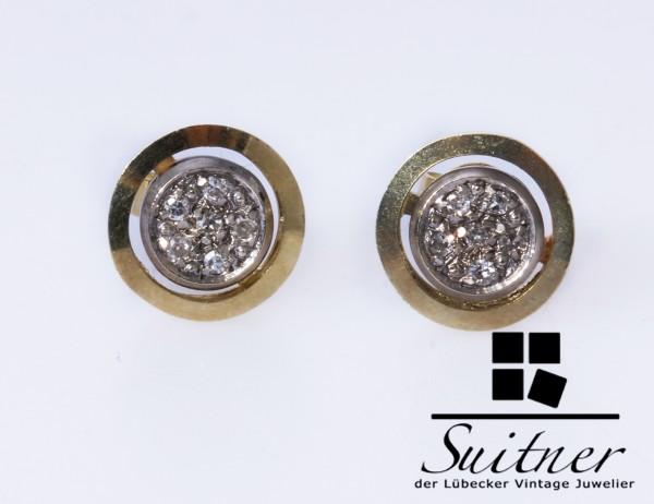 wertvolle runde Ohrstecker Diamanten 585 Gold Weißgold Unikat Handarbeit