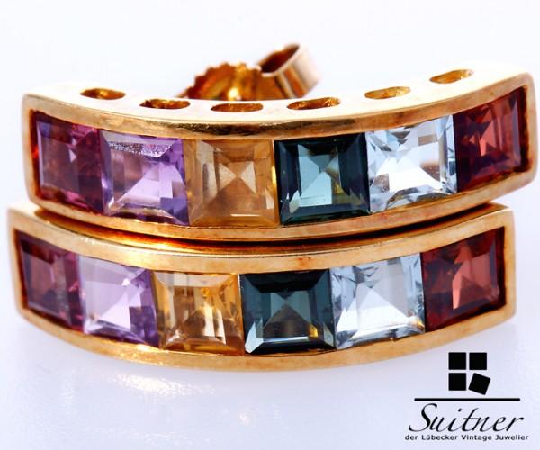 Ohrstecker 750 Gold Multicolor Regenbogen Citrin Amethyst Turmalin bunt