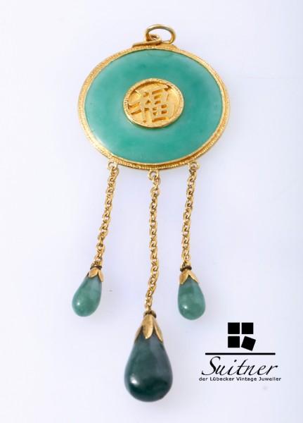 antiker Anhänger China Jade 916 Gold Symbole Glück langes Leben