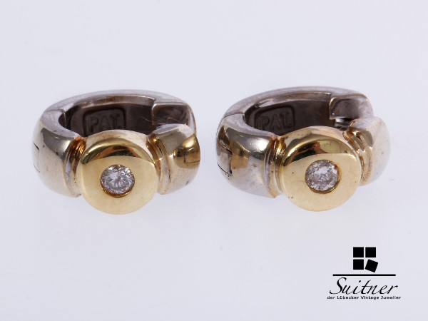 Creolen 2 Brillanten zus. ca. 0,10 ct 585 Gold