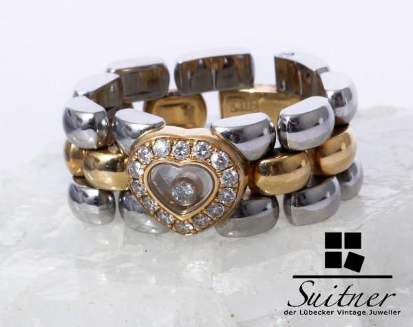 Chopard Happy Diamonds Ring 0,29ct 750 Gold Stahl 15 Brillanten Gr 58