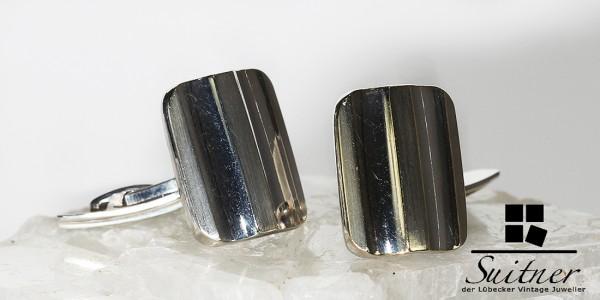 Art Deco Manschettenknöpfe aus 835 Silber und Gold Goldfront klares Design