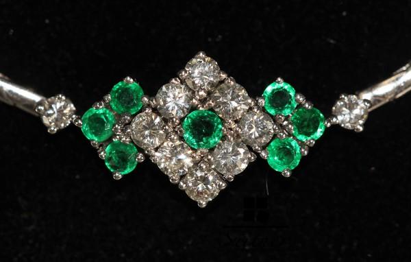 Schmuckset Armband Ring Collier Smaragd Weißgold 585 Brillant zus. über 2,00 ct.