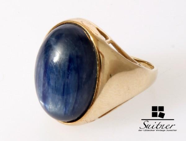 großer blauer Stern Saphir Cabochon von ca. 10ct. Ring aus Gold
